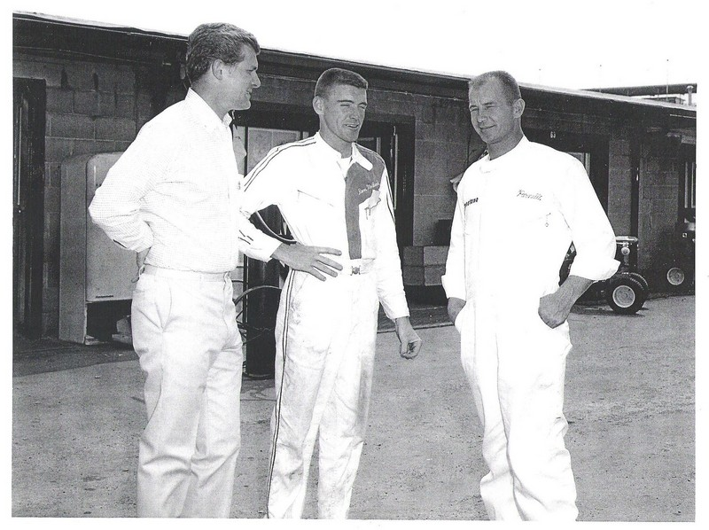 dave macdonbald and parnelli jones in Indy garage area in 1964