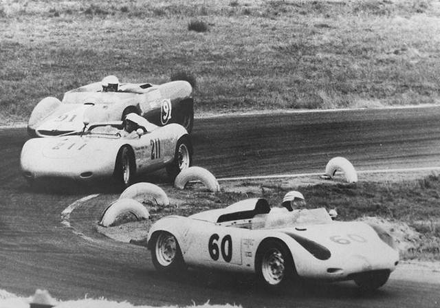Don Wester and Richie Ginther pass AJ Foyt at riverside 1963