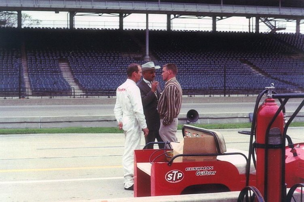 Dave MacDonald Parnelli Jones and JC Agajanian in conversion at 1964 Indy 500