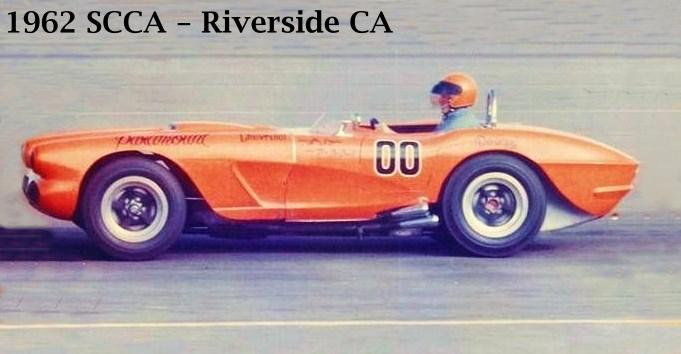 Racer Dave MacDonald in Corvette Special at Riverside 1961