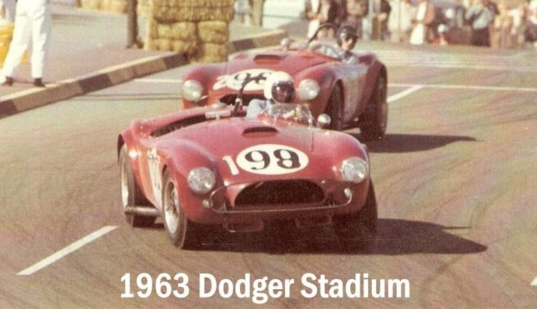 Dave MacDonald in Cobra Roadster at Dodger Stadium