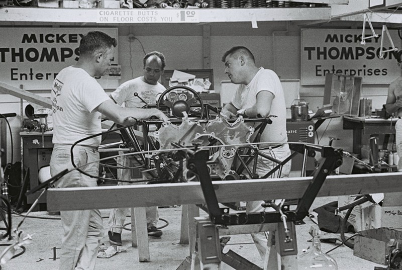Mickey Thompson�s crew spent long hours in the Indy garage in May trying to get his racer to handle properly