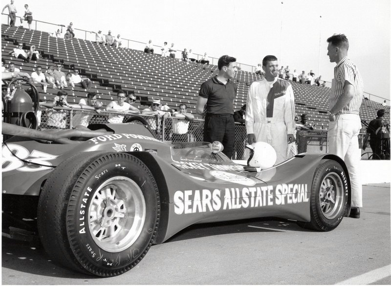 dave macdonald dan gurney and jim clark at indy 1964 after MacDonald passes his rookie test