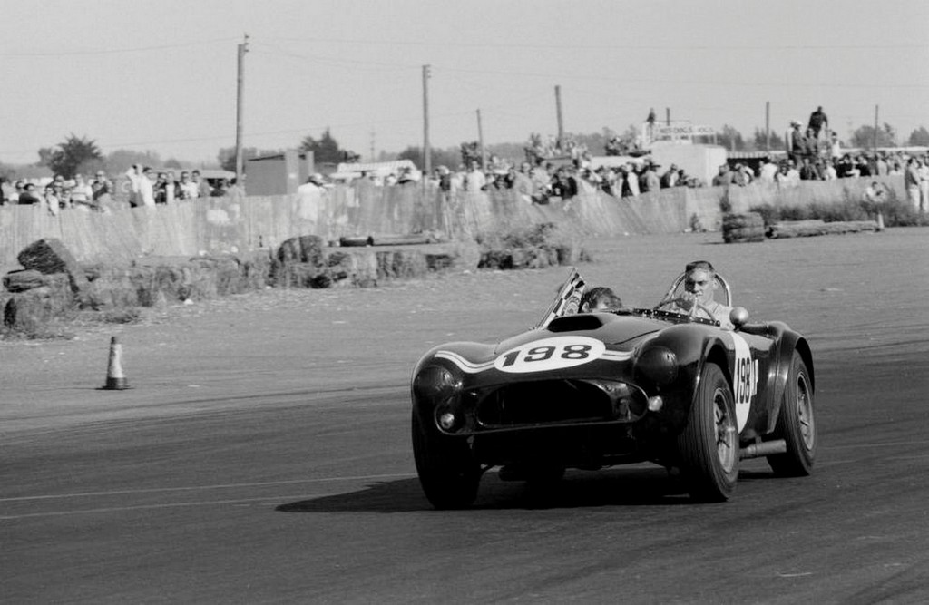 Dave MacDonald in victory lap in Shelby Cobra at Cotati 1963
