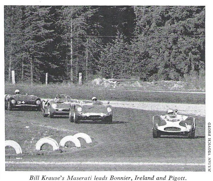 Billy Krause in his Maserati leads Jo Bonnier, Innes Ireland ay kent 1962