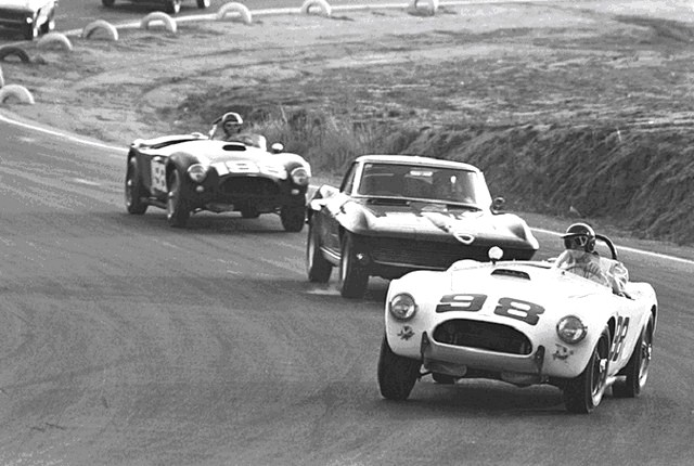 Dave MacDonald races the Carroll Shelby Cobra 260ci to its first ever win at Riverside International Raceway