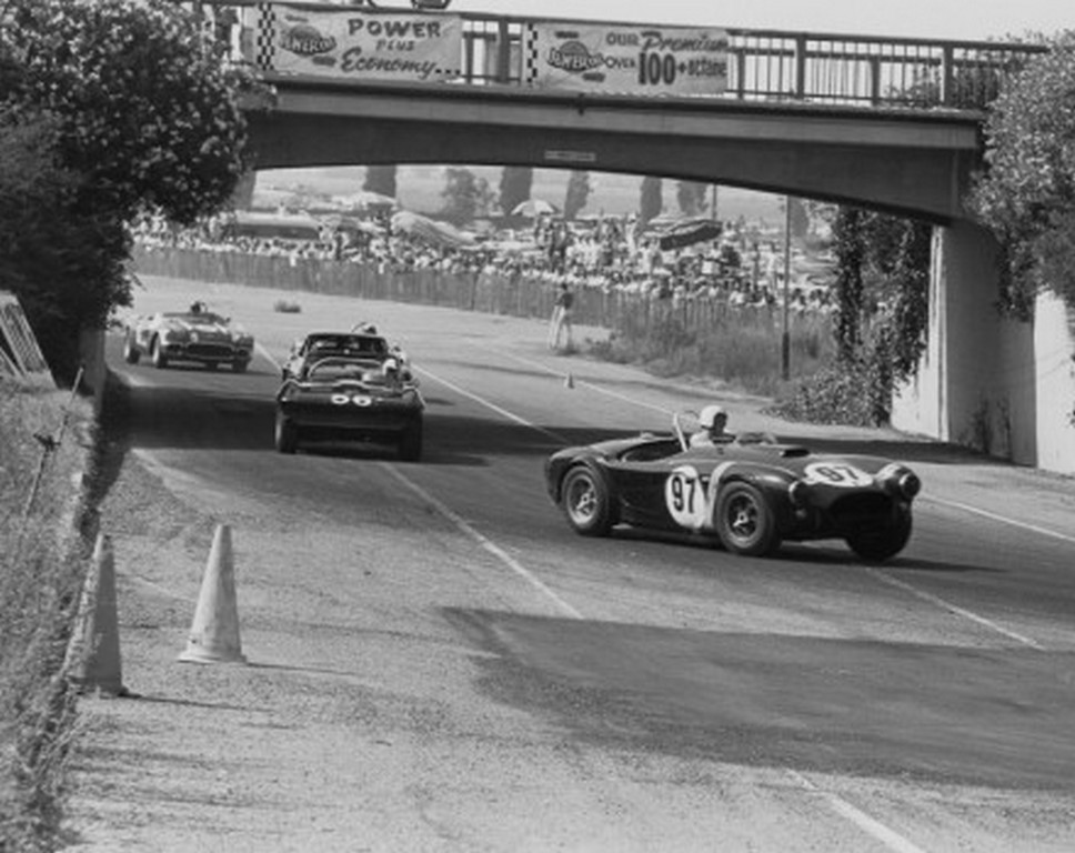 Dave MacDonald races the Cobra at Pomona Raceway in 1963