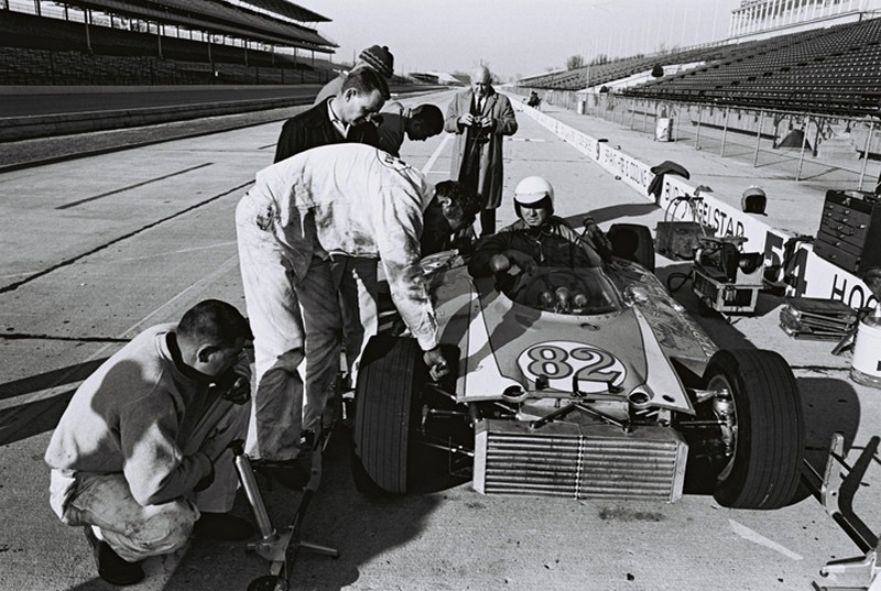Duane Carter at the brickyard in 1963 tire testing the thompson car