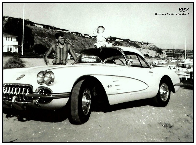 Racer Dave MacDonald with son richie and corvette 1958