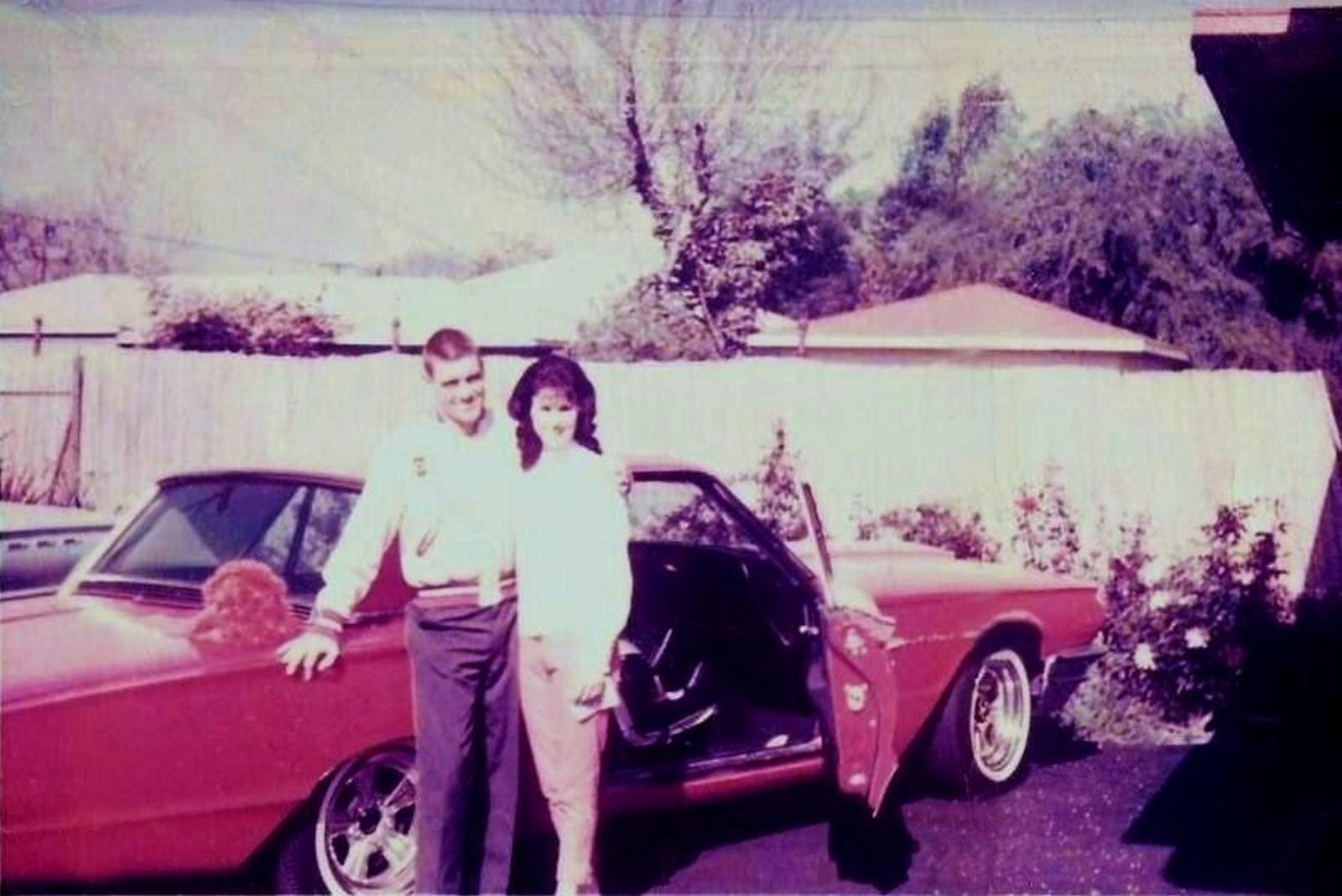 Dave MacDonald with wife Sherry and new 1964 Thunderbird factory loaner