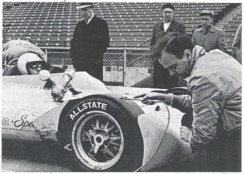 Masten Gregory at Indy speedway for November tire tests