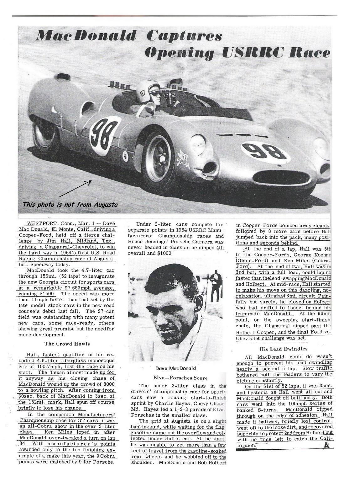 Dave MacDonald in Shelby King Cobra CM 1 63 wins  at Augusta